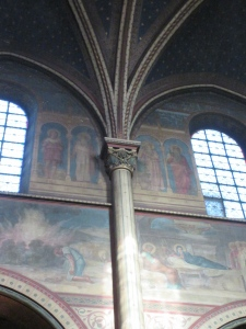 Painted walls inside Saint-Germain-des-Prés Church.