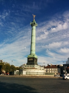 This traffic circle and statue stands at the location of the Bastille Fortress/Prison, that was torn down at the end of the French Revolution by the revolutionaries.