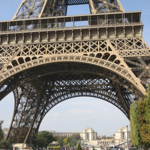 Eiffel Tower. Up close, Megan thought it was surprisingly ugly, except for this arched filigree.