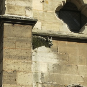 Gargoyle face on Église Saint-Séverin