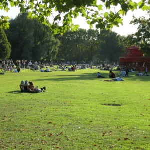 On a sunny day, this is a common scene. People pack the parks.