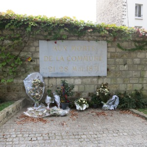 A revolutionist socialist group ruled Paris briefly in 1871, until they were defeated by the government. The final 200 retreated to the cemetery and lost a battle there. Those who survived the battle were executed at this site.