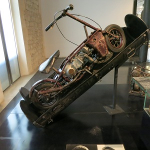 At the French Military Museum, we saw this in the WWII exhibit. It is a 'Welbike' folding motorcycle in its parachute-drop container. Stamped on the engine cover was 'Villiers Junior.'