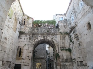This was the main gate leading into Diocletian's Palace. You can see how locals have moved into the walls, added on to them, and created gardens and terraces where possible. Also note the clothing shop on ground level.