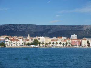 Split as seen from the marina with the Dinaric Alps in the background.