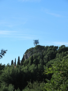We have seen many fire lookouts in Croatia. This one overlooks a large forested park/peninsula on the edge of Split. The locals tell us it is staffed 24/7, 365 days a year.