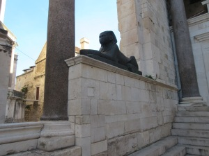 The one surviving intact sphinx and red granite columns imported by Diocletian for his palace.