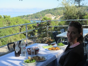 We found one restaurant open near Rogač on the island of Šolta. We were the only guests but were just in time to eat what the family had prepared for their lunch: a traditional peka, which is cooked under a bell surrounded by hot embers.