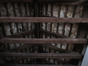 The interior of a stone roof.