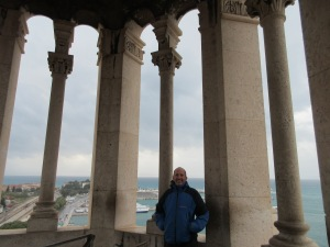 Jim at the top of the bell tower in Split on a rare cool windy day.