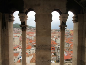 View from the bell tower across the west side of Split to Marjan forest park.