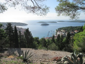 View over Hvar town, marina, and islets as seen from the fortress.