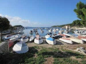 One of the many small bays in Hvar town. These are mostly fishing boats. In the summer, these waters are far more crowded with yachts.