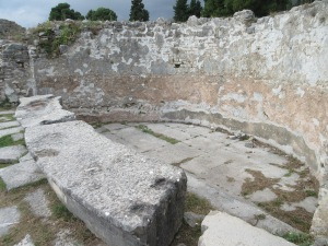 Next to the hot sauna was this lowered pool of cold water called a frigidarium in the Salona baths.