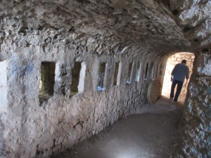 One of the protected passages in Klis fortress with ports for archers.