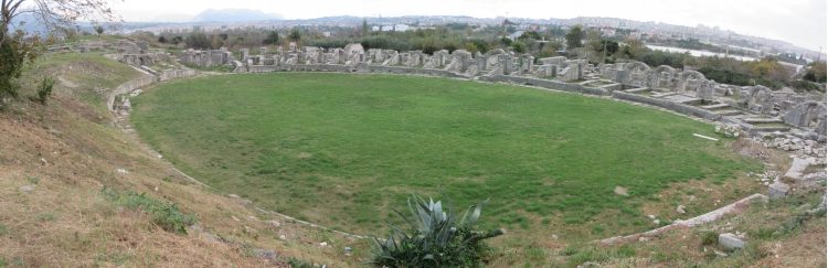 The oval-shaped coliseum in Salona.