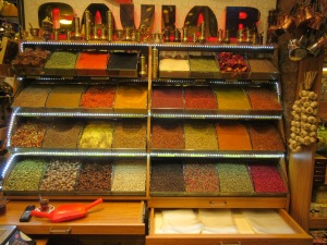 The Istanbul Spice Market is full of beautiful colorful displays and smells.