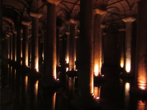 The Basilica Cistern was built by the Romans in the 6th century. It is capable of holding 2.8 million cubic feet of water when full.