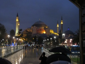 Hagia Sophia at night in the rain.