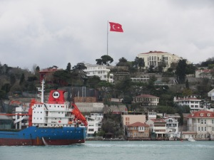 Enormous Turkish flags are common. This one flies over mansions on the banks of the Bosphorus.