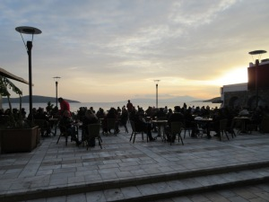 One of the busy waterfront cafes in Bodrum.