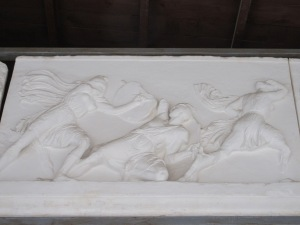 A carving from the Mausoleum shows Greeks fighting the Amazons.
