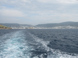 Bodrum receding as we take a ferry to the Greek Island of Kos.