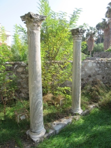 Hellenistic marble columns in ancient Agora on Kos.