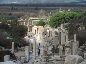 One of the main streets in Ephesus, looking toward the Celsus Library. The flat below was once ocean.