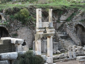 Temple of Domitian. Note the un-excavated structure behind the columns.