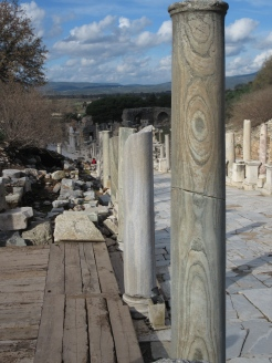 Marble column with swirl patterns.