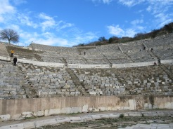 Ephesus amphitheater could seat 25,000 or 10% of the population. Megan is the dark spot near the center of the picture, in the upper rows.