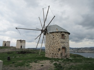 Windmills are all around the Bodrum Peninsula. They were used from the 18th century up to the 1970s to mill flour. Most are falling down today.