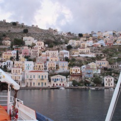 Symi, a picturesque Greek island as seen from the ferry.