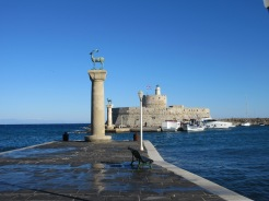 This is the entrance to the old harbor on Rhodes. Legend has it that Helios stood with one leg on either side of the entrance as the Colossos of Rhodes, one of the Seven Wonders of the Ancient World.