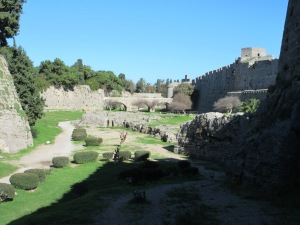 The moat around Rhodes. Today it is a frequent walking and jogging path.