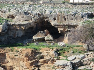 A Hellenistic funerary monument above Lindos. The rocks at the cave entrance were carved. Unfortunately the roof fell in long ago.