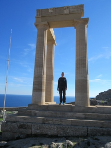 Megan among the columns above Lindos.