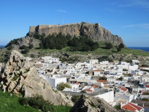 Lindos town and the fortified acropolis.