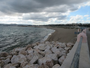 The beach from which we swam on Christmas Day, despite the grey clouds.
