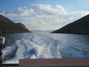Our ferry passed through this narrow gap at over 30 mph. The small speck on the right side is a fishing boat!
