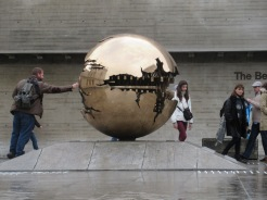 A kinetic sculpture rotating on the Trinity College Campus.