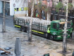 Daily morning delivery in the Temple Bar district. The Guinness truck is bigger.