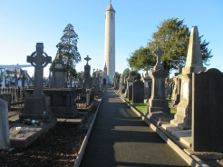 In the last few decades, Loyalists planted a bomb in the base of this tower destroying its staircase. The tower is a memorial for Daniel O'Connell. Glasnevin Cemetery.