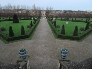 Formal English garden outside the Museum of Modern Art.