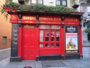 The Snug Bar in the Temple Bar district. Note the Guinness poster.