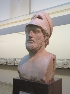 Perikles, 429BC, Greek Citizen-Soldier. At ease with his helmet back. British Museum.
