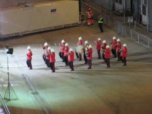 Amid light snow flurries, this marching band played as we pulled away from the dock in Southampton.