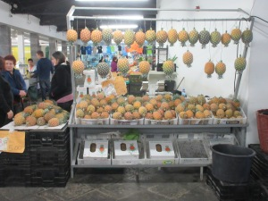 The Azores are renown for their pineapples, we found this great display in the daily farmer's market.
