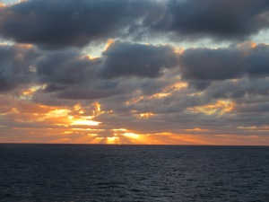 One of the many striking sunsets at sea.